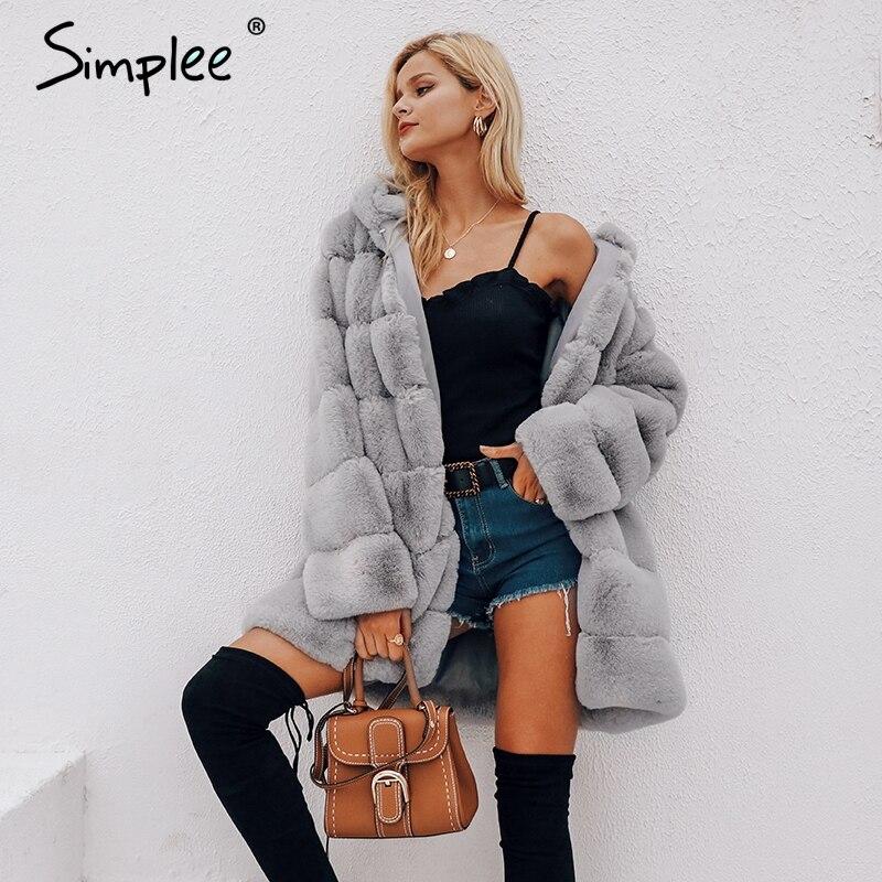 Simplee Vintage flauschigen hoodie faux pelzmantel frauen Winter grau jacke mantel weiblichen Plus größe warme lange casual oberbekleidung mantel