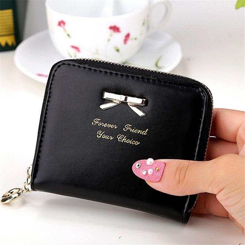 2017 New Cute Simple Bowknot Fashion Lady Women Leather Wallet Fashion Coin Purse Bag Zipper Clutches Carteira Feminina J432