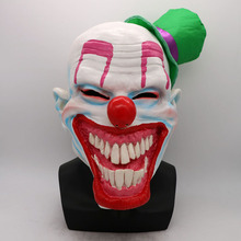 Halloween Mask Scary Clown Latex Full Face Big Mouth Red Nose Wig green hat Cosplay Horror masquerade mask Ghost Party