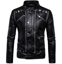 New Retro Vintage Motorcycle Jackets PU Leather Moto Jackets Men Multi Zippers Rivets Punk Biker Leather