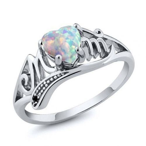 AMORUI Mother's Day Love Heart Opal Mom Rings for Women Fashion Clear AAA Zircon