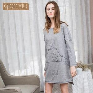 Image 2 - Осенние женские юбки Qianxiu 2017, модные юбки в европейском и европейском стиле из чистого хлопка 1793C