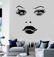 Vinyl Wall Decal Woman Face Eyes Lips Girl Stickers Mural