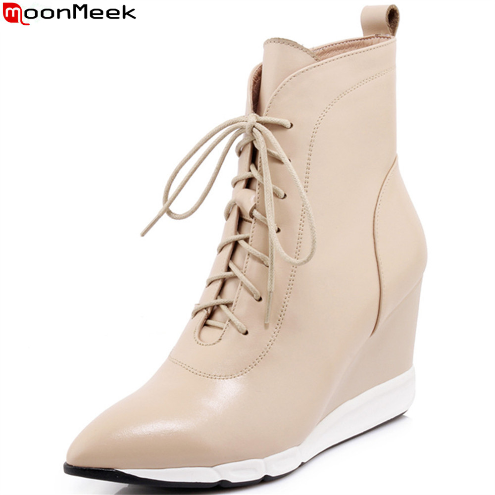 MoonMeek black apricot fashion women boots pointed toe ladies genuine leather boots zipper cross tied cow leather ankle boots бритва remington pf 7200