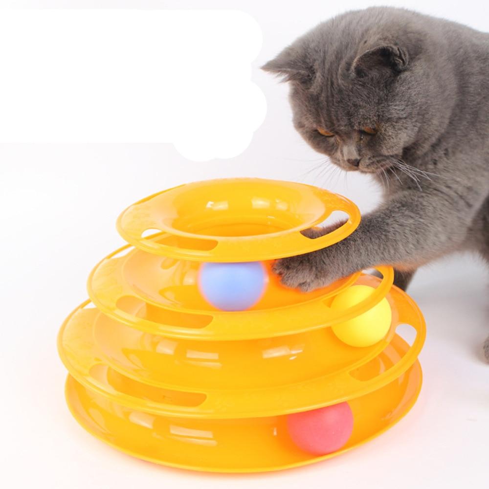 DoreenBeads Plastic Three Levels Tower Tracks Crazy Balls Play Disc Plate Funny Pet Toys Cat Intelligence Amusement Rides Shelf
