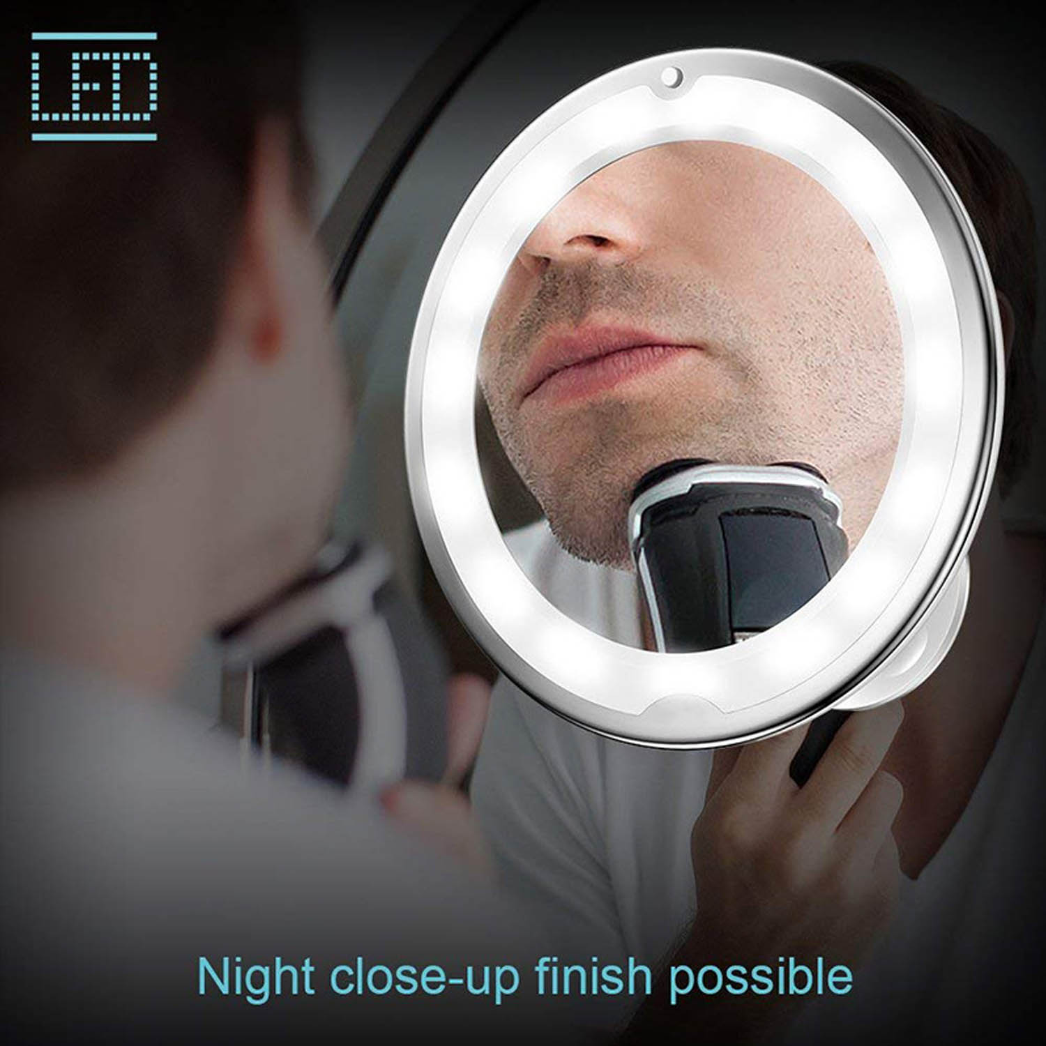 360 Degree Rotation LED 10x Magnification Makeup Mirror with Suction Cup for Bedroom Bathroom Dressing Table Makeup Room