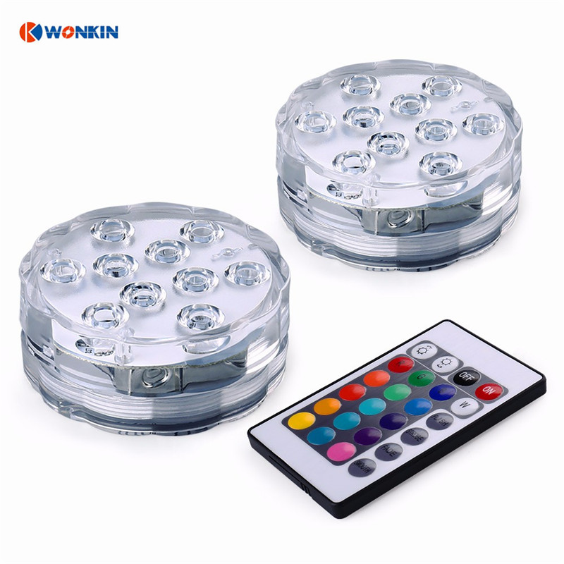 Fantastisk 4st LED-modul Undervatten Trådlös fjärrkontroll Ledd Multi Color MP-35