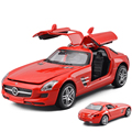 2016 New Model Cars 1:32 Mercedes-Benz SLS AMG alloy car model Light and Sound Kinsmart Diecast Cars For Baby Toys Free Shipping