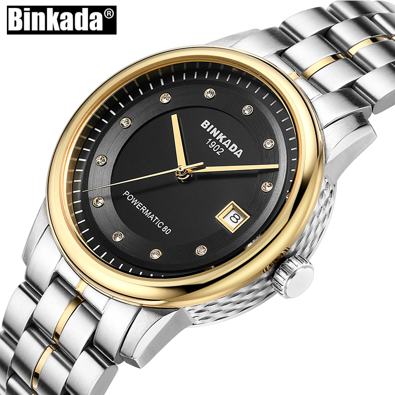 Luxury Mens Automatic Mechanical Self Wind Watch New Business Casual Watch Analog Date Stainless Steel Simple Sport Men's Watch original binger mans automatic mechanical wrist watch date display watch self wind steel with gold wheel watches new luxury