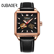 Automatic Mechanical Watch Men Fashion Horloge Genuine Leather Strap Waterproof Watches Gentlemen Business Wristwatch Relogio ks automatic watch silver white black leather strap date month mechanical men business brand heren horloge wrist watches ks285