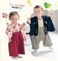Llegada de nuevo Bebé Niños Niñas Ropa Niños Del Estilo Japonés Kimono Ropa de Bebé Conjuntos Niños Niñas Mameluco