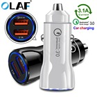 OLAF Dual USB Car Charger Quick Charge 3.0 2.0 Mobile Phone Quick Charger USB Fast QC 3.0 Car Charger for iPhone Samsung Xiaomi