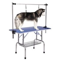 Large Folding Pet Dog Grooming Table Arm & Noose & Shelf Heavy Duty 150KG Capacity Stainless Steel Dog Cat Grooming Table