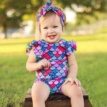 2019 Toddler Kids Baby Girl Rompers Playsuit cute Clothes Bikini Beach One Piece Swimwear+Headbands Swimsuit Set Jumpsuit(China)