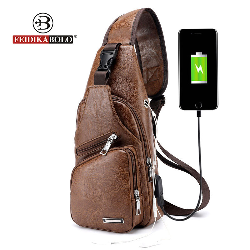 4b090f7dc99b Anti Theft USB Charge Male Shoulder Bags High Quality Men Chest Bag Sling  Leather Handbags Black Crossbody Bags For Man 2018 New-in Waist Packs from  Luggage ...
