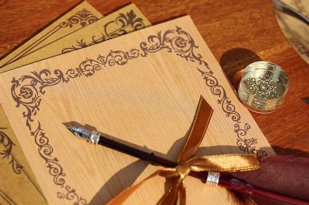 Retro European-style Lace Vine Wood Kraft Paper Envelopes 5pcs Free Shipping