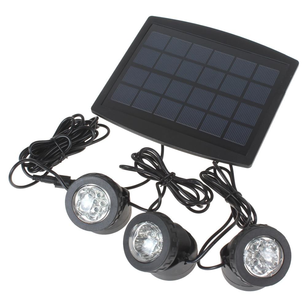 3 x RGB Color LED Solar Power Light Outdoor Waterproof Energy Saving Super Bright Garden Path Road Pool Pond Lamp + Solar Panel