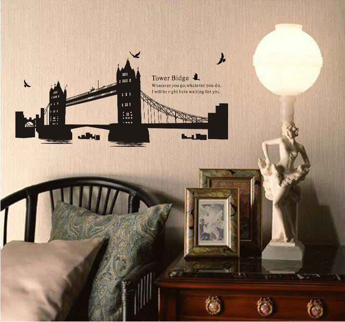 London Gemini Bridge Leading DIY Wall Stickers Waterproof Removable Living Room Poster Bedroom Decoration Home Decor Spectacles