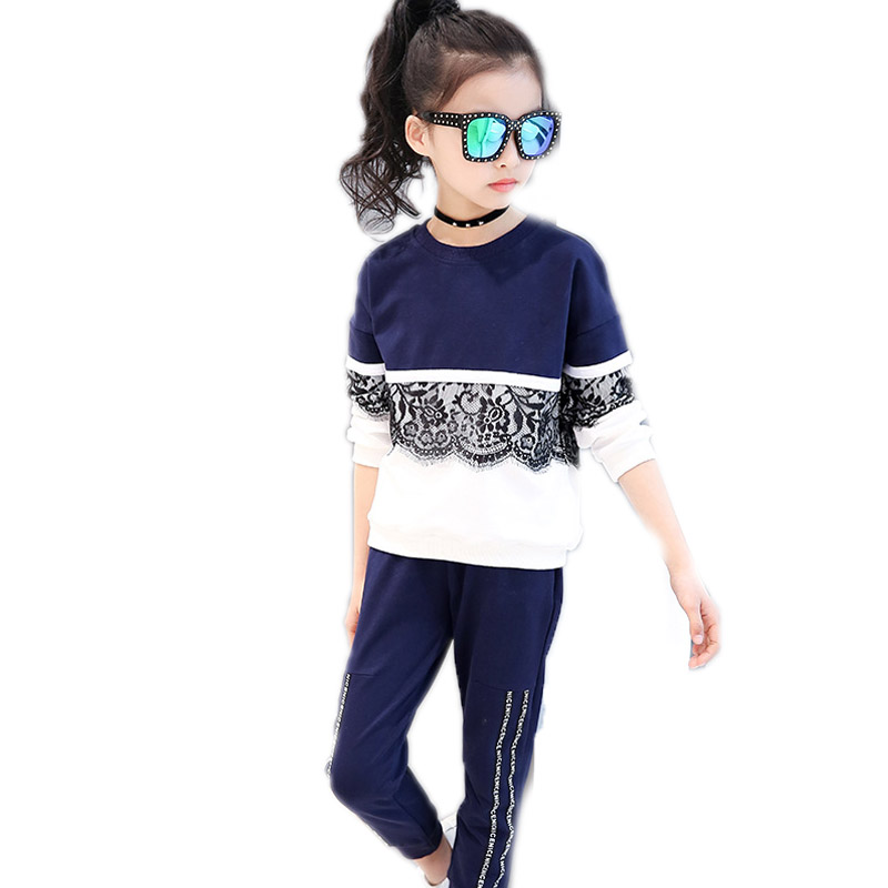 Girls Children Sports Suit 2018 Girl Tracksuit Long Sleeve Lace Pullover Shirt+ Pants 2 Pcs Sport Outfits Big Girl Clothing Sets