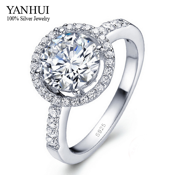 YANHUI 925 Sterling Silver Engagement Ring S925 Stamped 3