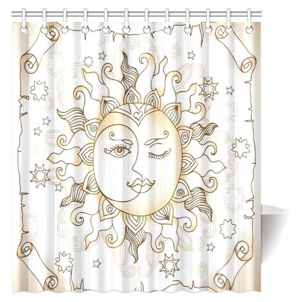 Aplysia Sun And Moon Shower Curtain Vintage Magic Spiritual Celestial With Crescent Midnight Art Fabric Bath Curtains In From Home