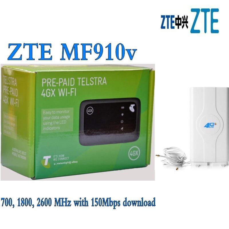 ZTE MF910v LTE 4G WiFi Pocket Router Unlocked Plus 49dbi 4g TS9 Antenna