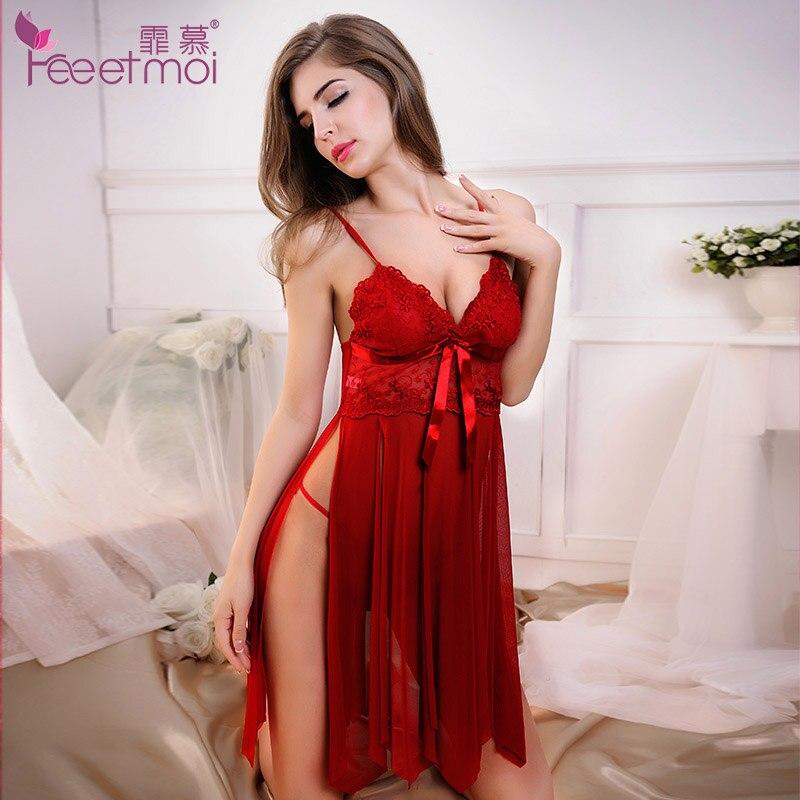 Spitze Stickerei Rot Baby Puppe Sexy Dessous Frauen Hot Sexy Solide V-ausschnitt Transparent Erotische Dessous Sexy Schlitz Nachtwäsche Pyjamas
