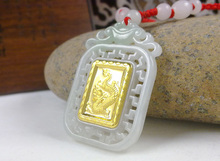 Cheap For Sale Unisex  Gold Jade Dragon Pendant Square Style Men Women Good Luck Necklace