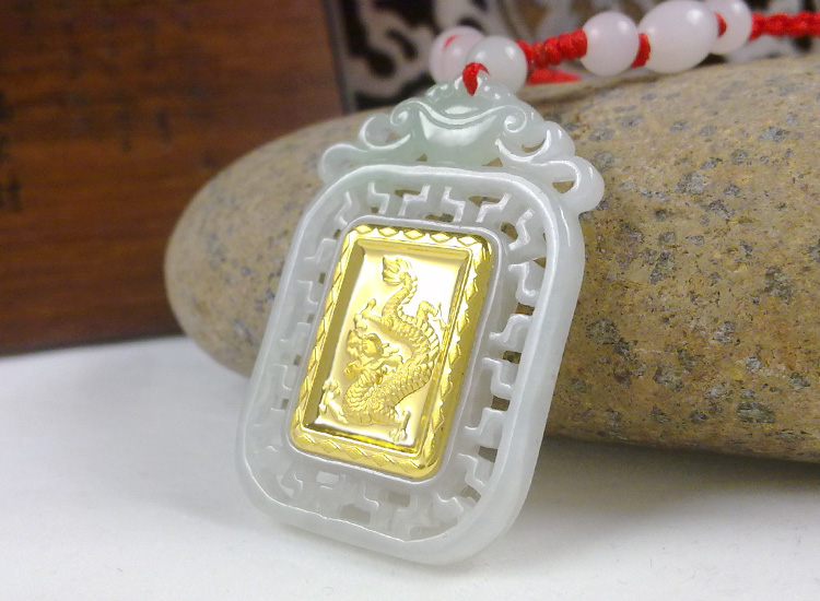 Cheap For Sale Unisex Gold Jade Dragon Pendant Square Style Men Women Good Luck Necklace