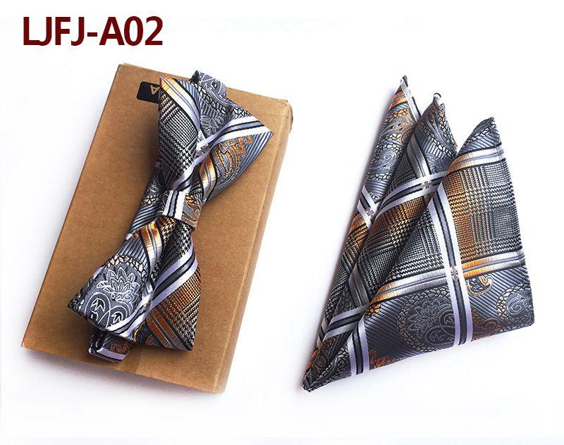 Мужской модный галстук набор полиэфирных шелковых галстуков наборы из двух частей жаккардовые галстуки для мужчин галстук носовой платок галстук-бабочка - Цвет: LJFJ-A02