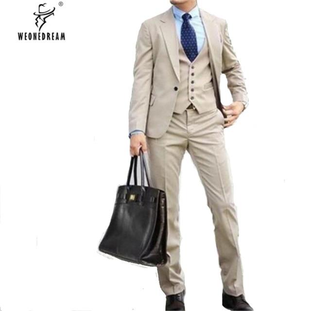 Traje informal de fastion hecho a medida esmoquin hombres trajes caqui 3  piezas (chaquetas + 4999f7a967ee