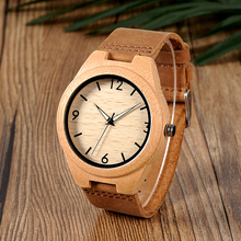 BOBO BIRD Men Watch Bamboo Wooden Quartz Wristwatches Male with Luminous Hands with Leather Band in