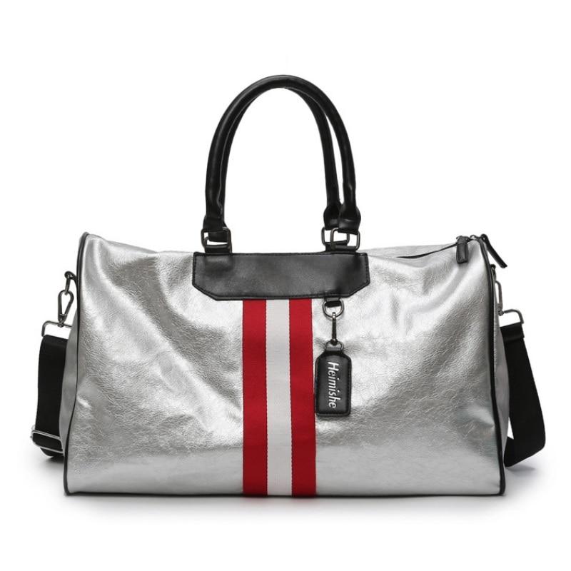 Women Stripe Travel Duffle Bag Crossbody Shoulder Bags PU Leather Weekend Bag Luggage Handbag Ladies Silver Boston Bag