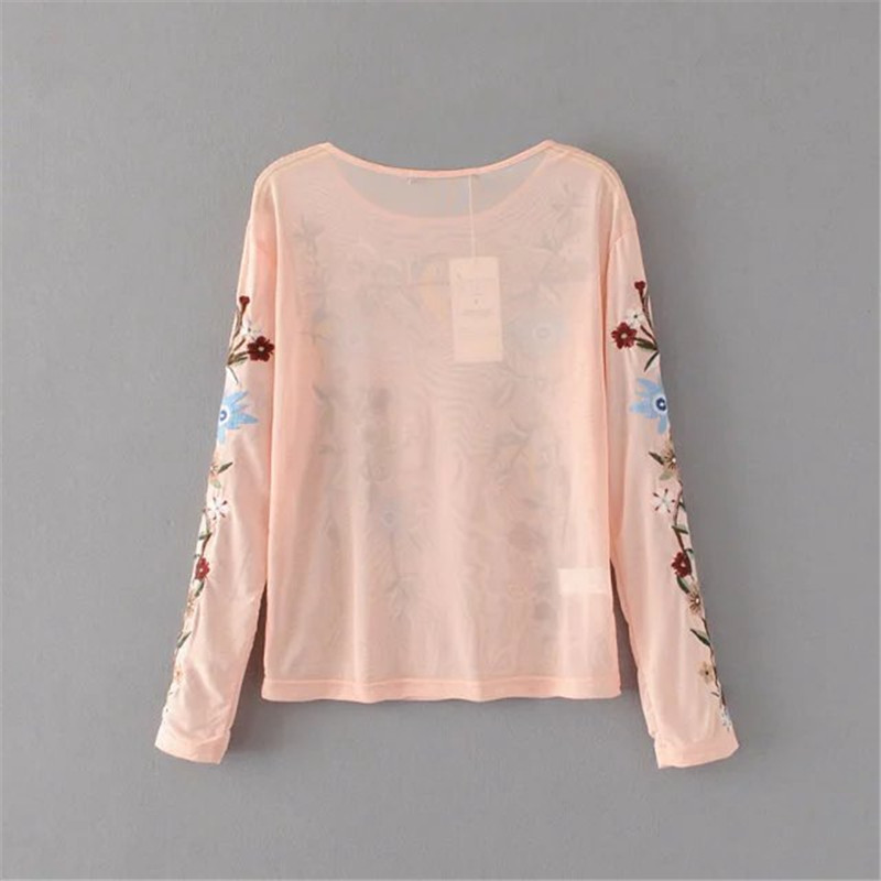 6f5f0e4c80d4c Embroidery floral muslin blouse women tops sexy slim perspective gauze shirt  women blouses handmade Ethnic vintage top chemise