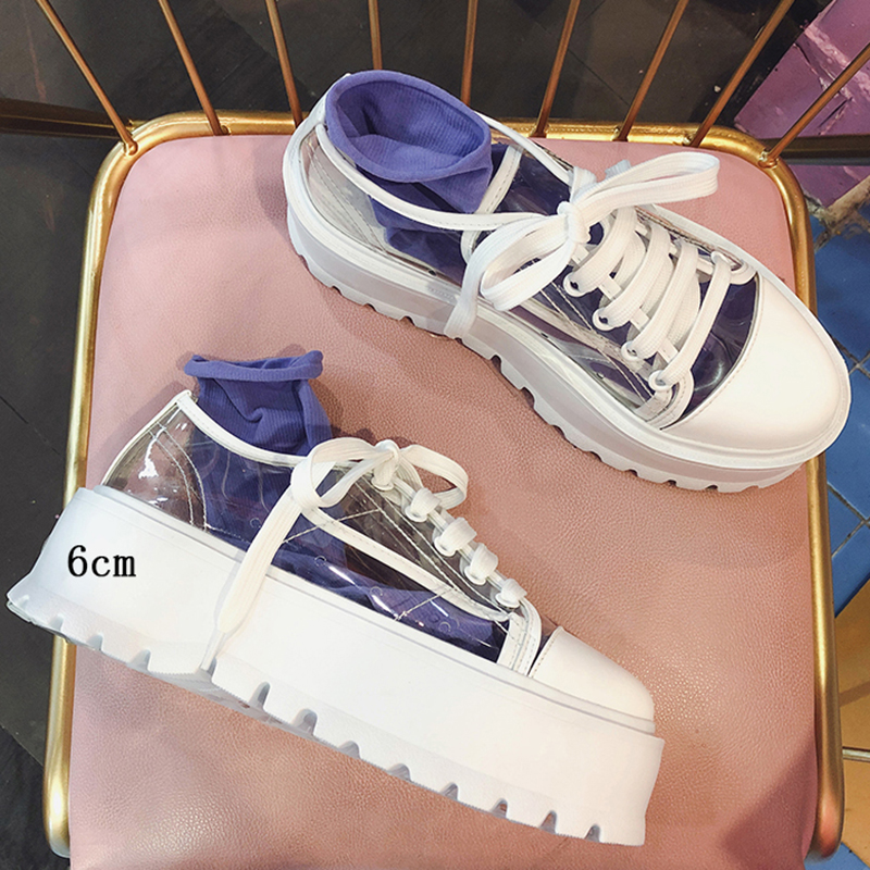 Womens Clear Lace Up Transparent Flat  Shoes Candy Sneakers Walking Athleti