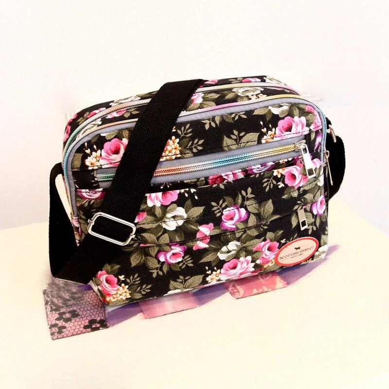 New Women Messenger Bags For Grils Canvas Handbags Female Shoulder Bag Ladies Crossbody Bags Floral Printing Women Bag PT1195