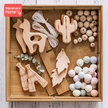 Mamihome 10PC Baby Wooden Teether Animals Beech Teething Rodent Tiny Rod Pendant Pacifier Chain Nurse Gifts