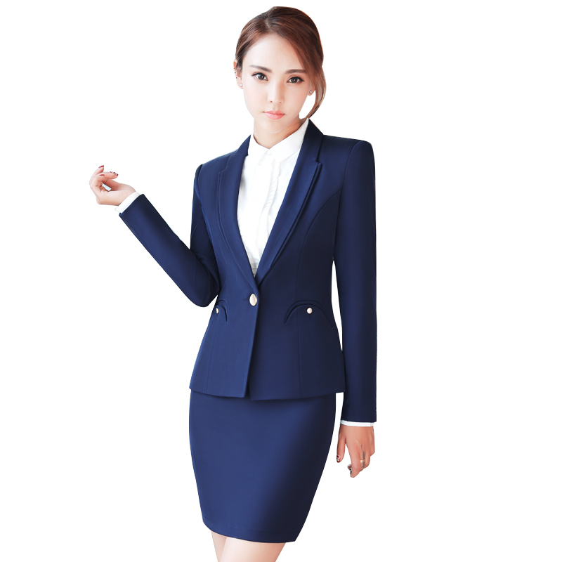 Plus size 4XL Autumn Womens Fashion Two Piece Set Elegant Skirt Suits Hotel Female Busin ...