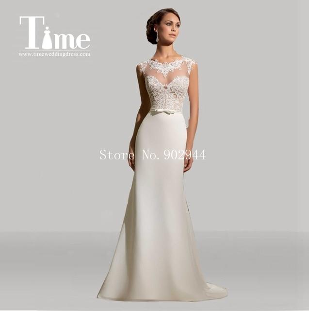 lace wedding dresses 2015 2015 bateau bow belt cap sleeves cheap ...