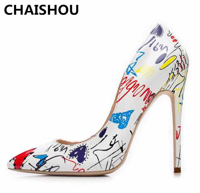 ... CHAISHOU 2018 mujeres Fashion 10cm High Heels plus size Lady Scarpins  PU Shallow-necked color ... 89d8df18c465