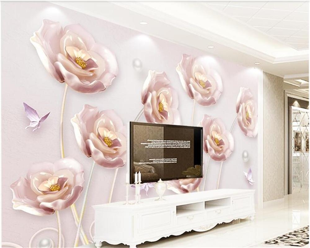 Купить с кэшбэком beibehang 3D embossed tulips modern minimalist European TV background wall papier peint  papel de parede wallpaper hudas beauty