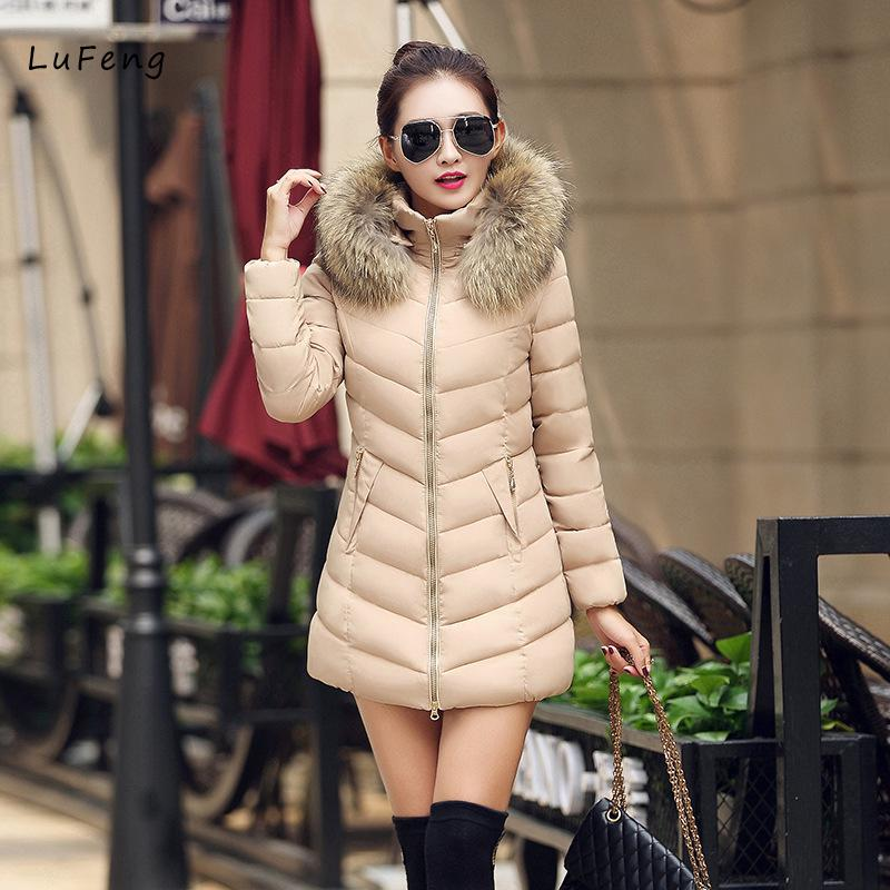 Women Jackets Fur Collar Zipper Full Sleeve Slim Coat Female Jacket Winter Long JACKET WOMAN Parkas Winter Woman 2017 LF36-714