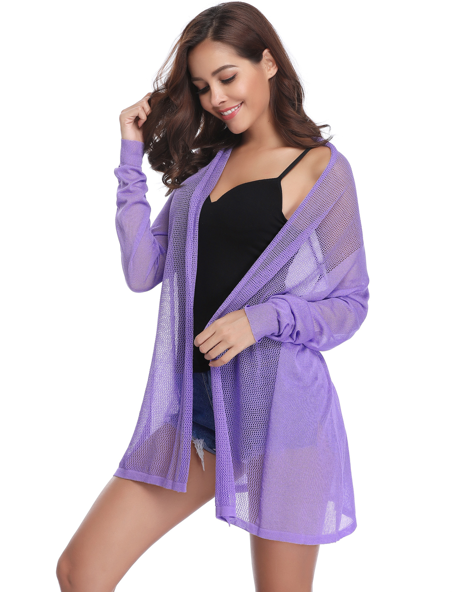 Summer Women Thin Cardigan Long Sleeve Open Front Sun Protection Clothing Tops