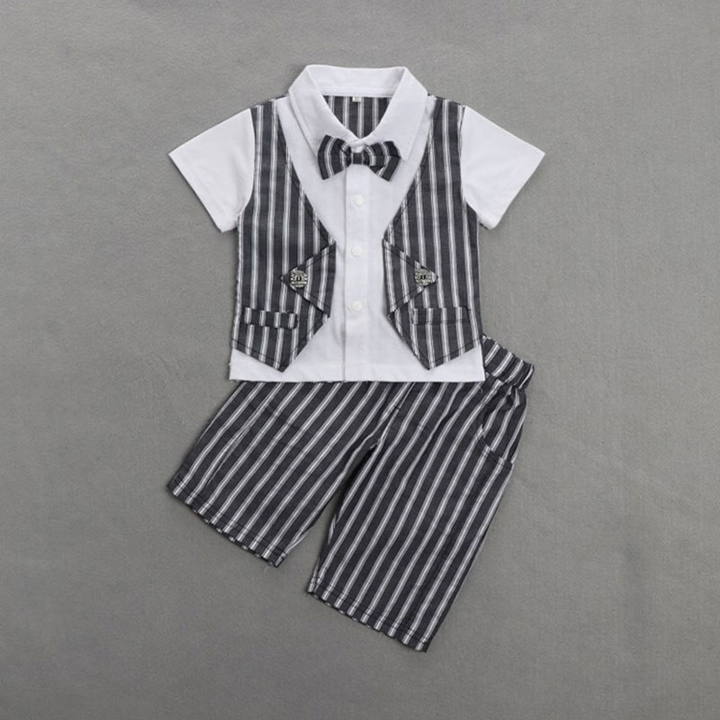 Formal Striped Children's Clothes Set Summer For Newborn Baby Boy Cotton Clothing Suit 1 Birthday Party and Wedding Cloth 1-3T gentleman baby boy clothes black coat striped rompers clothing set button necktie suit newborn wedding suits cl0008