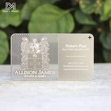Cartão de visita de aço inoxidável, cartão de visita vazado fora personalizado