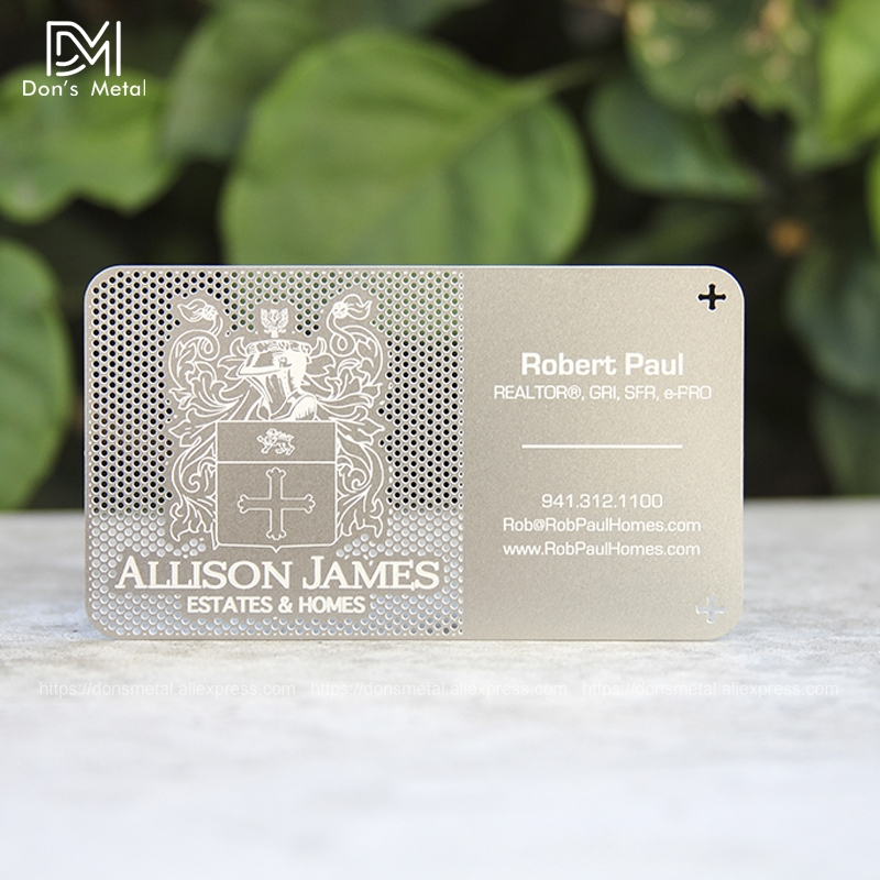 Image 4 - Hollow out/ Cut out stainless steel metal business card Metal membership card design metal business card customization-in Business Cards from Office & School Supplies