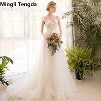 Mingli Tengda Mori Super Fairy Shakespeare Light Wedding Dress O Neck Illusion Bride Princess Dream Wedding Dresses Trouwjurk