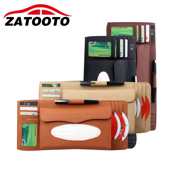 Caixa de Tecido Viseira Carro Clipe Cartão Universal Estiva Tidying Organizador Saco Carro Styling Acessórios Do Carro