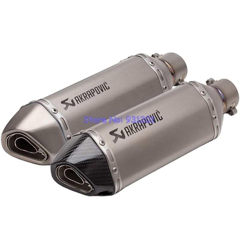 Titanium Alloy and Carbon Fiber Inlet 51mm Motorcycle Exhaust Muffler Pipe Akrapovic Motorbike Pitbike Exhaust Escape MotoTitanium Alloy and Carbon Fiber Inlet 51mm Motorcycle Exhaust Muffler Pipe Akrapovic Motorbike Pitbike Exhaust Escape Moto