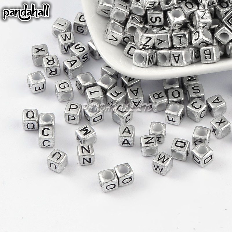 Beads & Jewelry Making Inventive High Quality 2500 Pcs Gold Sliver Cube Mixed Letter Alphabet Acrylic Beads 6mm Bracelet Diy Beads New Arrival Packing Of Nominated Brand Jewelry & Accessories